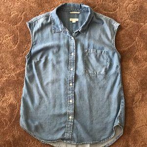 Jean button up sleeveless top